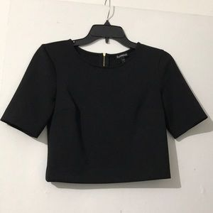 Black crop top with gold zipper